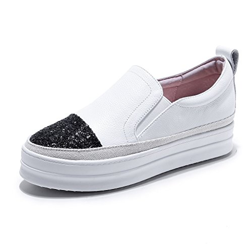 RoseG Womens Leather Fashion Espadrilles Platform Casual Trainers White 5nlogfMXyo