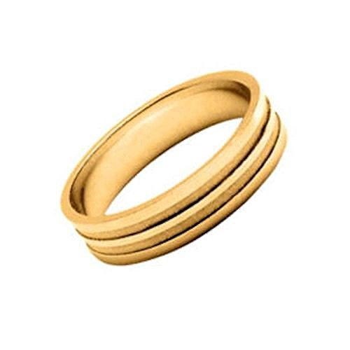 So Chic Jewels - Vermeil - Silver Gilt (18k Gold over 925 Sterling Silver) 5 mm Polished & Sand Blasted Effect Line Wedding Band Ring - Customisable: Your Message Engraved Free - Size 11 Polished Gilt