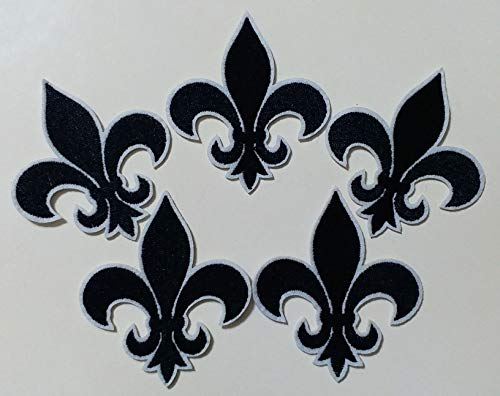6.6x7.6cm 10pcs Black Fleur De Lis Patch Iron On Embroidered Patches Appliques Felt Patches Machine Embroidery Needlecraft Project ()