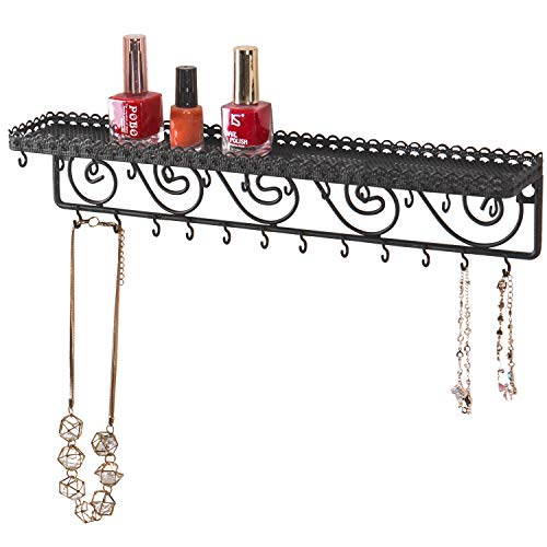 MyGift Wall Mounted Black Metal Scrollwork Design Cosmetics Storage Shelf w/ 25 Necklace Hanging Hooks