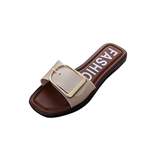 ZOMUSAR Clearance! Sandals Slippers, Fashion Women Summer Casual Flat Heel Square Buckle Sandals Slipper Shoes (US:9, White) -