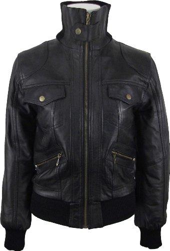 UNICORN Femmes court Bomber de Style Réel en cuir veste Noir #EC