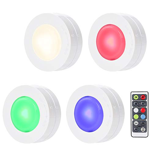 SALKING RGB Puck Light, LED Under Cabinet Lighting, Dimmable Closet Lights, RGBW 16 Color Changing with Remote Battery Powered,Under Counter Lights for Kitchen - 4 Pack