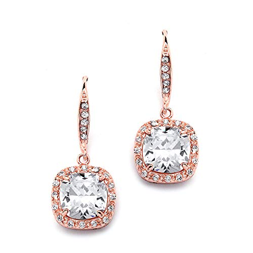 Mariell 14K Rose Gold Plated Wedding Bridal Earrings for Brides with Pave Cushion CZ Dangles ()