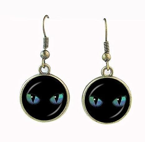 Pendiente de ojo de gato, diseño vintage de peer gato, pendientes de gafa, pendientes de cristal para mujer, regalo para los amantes de los gatos: ...