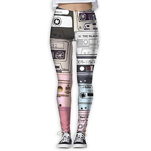 booskaneews New Mix Tape Printing Design Compression Leggings Pants Tights for Women S-XL White -