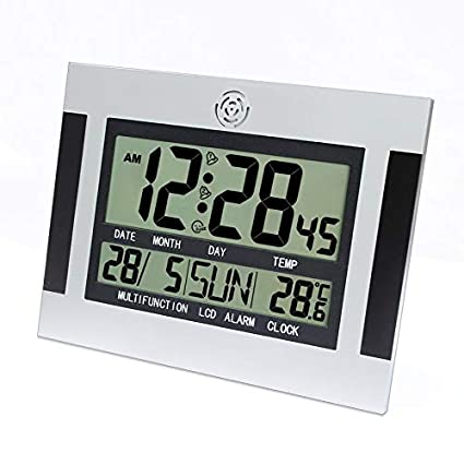 Yogamada Escritorio Digital Pared de Alarma de Reloj con termómetro y Calendario LCD de Pantalla Grande