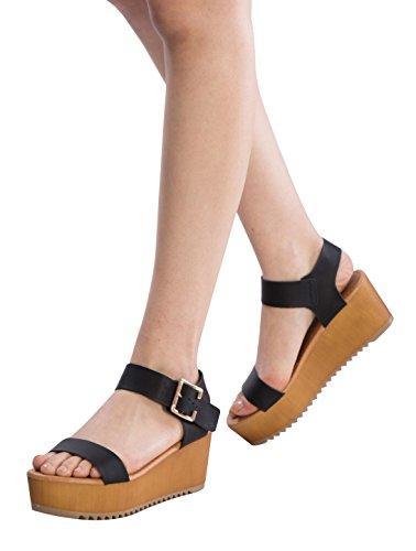 OLIVIA K Women's Platform Buckle Sandal - Open Peep Toe Fashion Chunky Ankle Strap Shoe,Black Pu,9 B(M) US by OLIVIA K (Image #3)