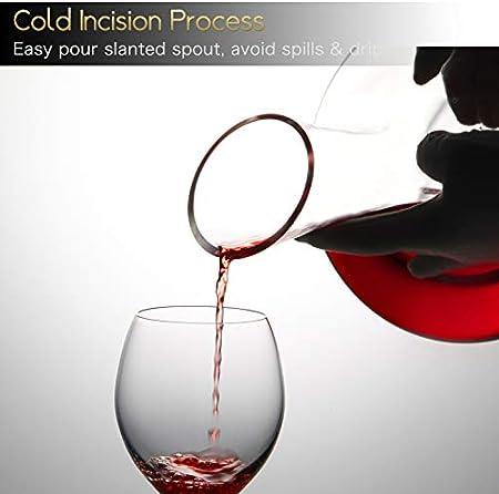 NUTRIUPS Decantador Para Vino, Decantador Vino, Jarra de Vino Tinto, Jarra de Vino, Decantador de Vino, Jarra Vino, Decantador Vino Cristal, Jarra de Vino Sin Plomo con Tapón y Cepillo de Limpieza