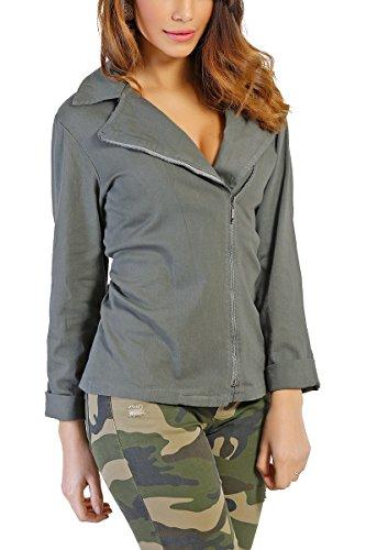 INFINIE PASSION - algodón - chaqueta pierna caqui