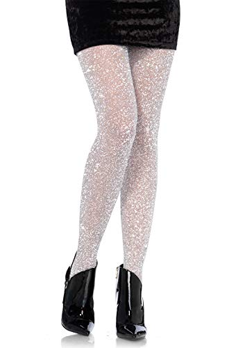 Leg Avenue Women's Lurex Shimmer Tights, Silver, One Size