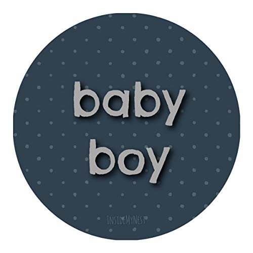 Prussian Blue Baby Boy Stickers For Baby Shower Vintage Cottage Chic New Baby Arrival Gender Reveal Polka Dots Party Favor Decorations (1 Sheet of 35) ()