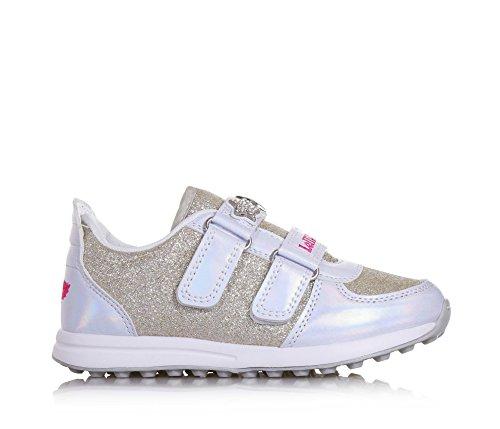 Faux Et avec Fermeture Kelly Cuir Dorée Filles Chaussure en en Glitter Tissu Fille Velcro Et Double White Blanche Lelli vBz1xq