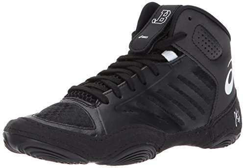 ASICS Unisex-Kids JB Elite III GS Wrestling Shoe, Black/White, 1 Medium US Big Kid by ASICS