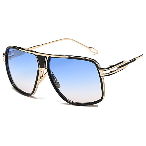 Kaimao Classic Aviator Sunglasses Metal Frame UV Protection Unisex Goggle Sunglasses with Case and Cloth - Gold and Sky - Sunglasses Sk