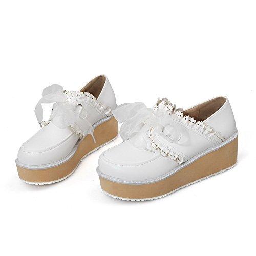VogueZone009 Damen Weiches Material Schnüren Rund Zehe Mittler Absatz Rein Pumps Schuhe Weiß