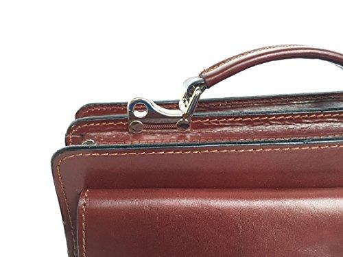 Superflybags Borsa Uomo Piccola Porta Tablet Vera Pelle Made in Italy modello Classic M 28x20x9 marrone
