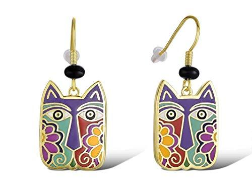 (Laurel Burch Jewelry Blossoming Drop Cats Earrings)