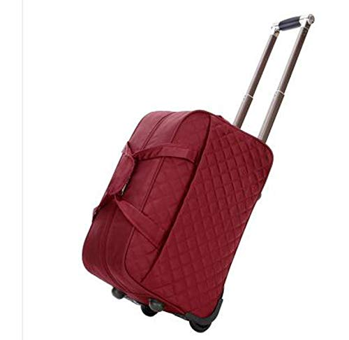 (Large luggage Bag trolley Case travel bag on wheels for women men suitcase Travel Duffle,24 inch Dark Red)