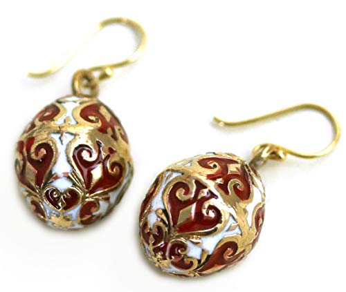 (LynnAround Bronze Multicolor Enameled Egg, Easter Egg, Russian Eggs, Dangle Earrings Fish Hook Thailand Made Jewelry)
