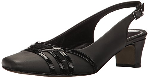 Shoes Slingback Leather (Easy Street Women's Kristen Dress Pump, Black Satin/Patent, 9.5 M US)