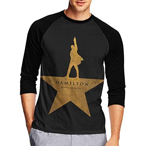 Long Sleeve T Shirt Men, Hamilton an American Musical Long Sleeve Tee Classic Casual Jersey Black