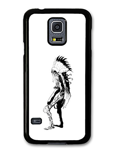 Skeleton Skull Native Feather Aztec Cool Style Black And White Illustration coque pour Samsung Galaxy S5 mini