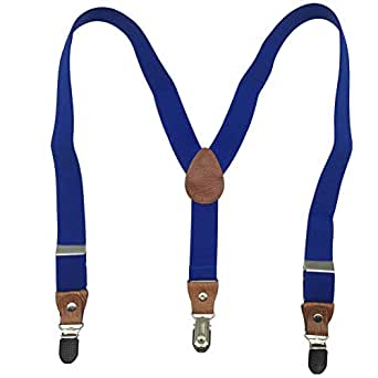 Boys Girls Kids Child Elastic Adjustable 1 inch Y Back Clip Suspenders Multi Colors - Blue - One Size