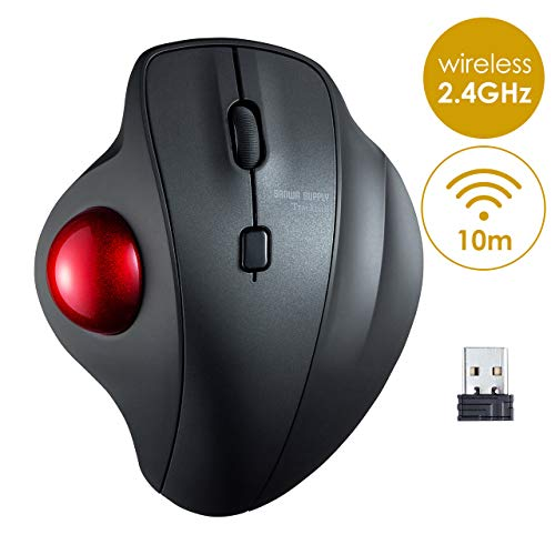 SANWA (Japan Brand) 2.4G Wireless Ergonomic Trackball Mouse, Optical Sensor Computer Mice, (600/800/1200/1600 Adjustable DPI,Washable 34mm trackball) Compatible with MacBook, Laptop, Windows, Mac OS