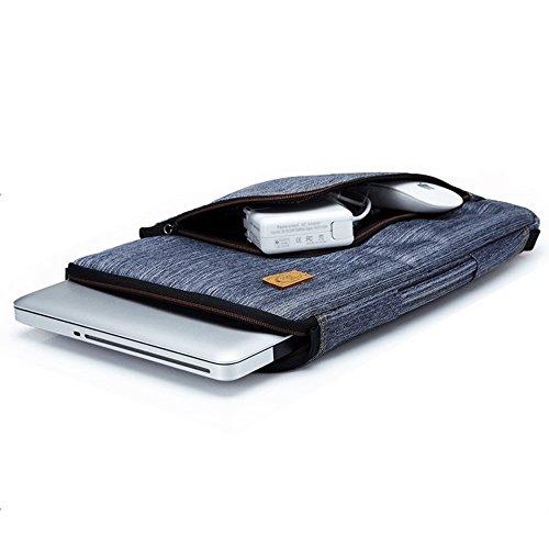 PsmGoods® Denim Fabric Zipper Laptop Funda de la bolsa de la maleta Bolsa de transporte de viajes Handbag Maletín para 14 pulgadas Asus Lenovo Samsung Sony Dell Blue