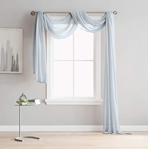DecoSource Semi Sheer Window Scarf (54 x 144) - Elegant Home Decor Window Treatments - Add to Window Curtains for Enhanced Effect (1 Scarf 54