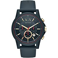 Armani Exchange Men's Quartz Stainless Steel and Silicone Casual Watch, Color:Blue (Model: AX1335)