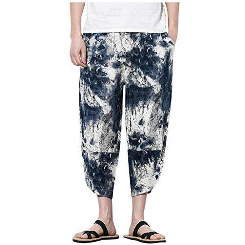 VEZAD Men Harem Pants Jogger Fitness Chinese Style Printed Linen Loose Cropped Trousers