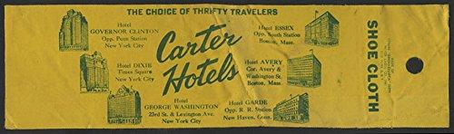- Carter Hotel chain used shoe polishing cloth Dixie Garde Essek Avery + ca 1940s