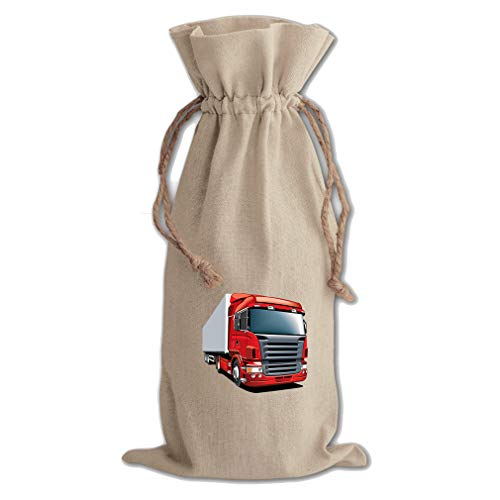 Big Red Wagon Cotton Canvas Wine Bag, Cotton Drawstring Wine Pouch Natural