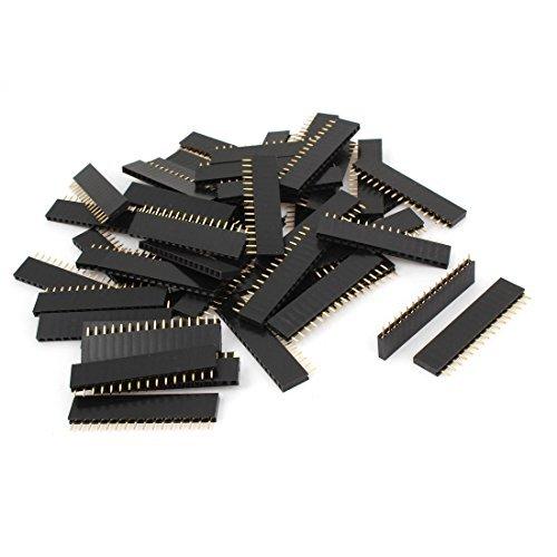 (DealMux 50PCS 2.54mm Spacing Female 16 Pins PCB Header Connector Single Row)