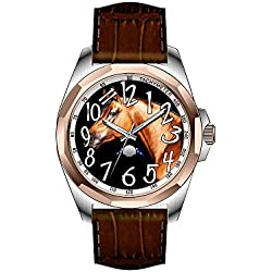 AIMS Christmas gift Mens gold Personalized Unique Fashion Design Waterproof Wrist Watch Animal Photography, Horse Watch