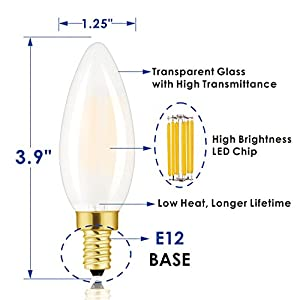 Hizashi 60W High CRI 90+ Dimmable 650lm 6W Frosted LED Filament E12 Candelabra Bulb, 6 Pack Very Soft White