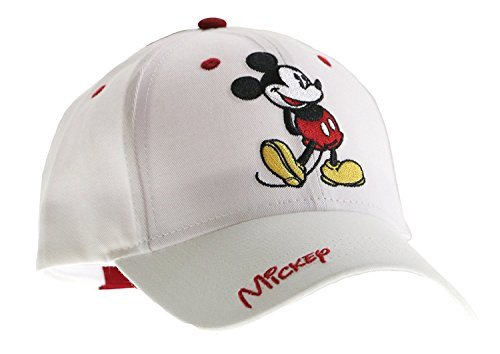 Classic Disney Mickey Mouse Adult Hat Baseball Cap, White & Red (Disney Hats For Adults)