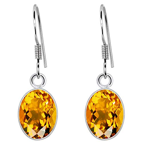 (1.36 Ct Yellow Citrine Gemstone Birthstone 925 Sterling Silver Dangle Earrings Oval Drop 7x5mm For Women)
