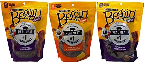 Purina Beggin Dog Treats 3 Flavor Variety Bundle 1 Beggin Strips Bacon, 1 Beggin Strips Bacon Cheese, 1 Beggin Strips Bacon Beef, 6 Oz. Ea. 3 Total