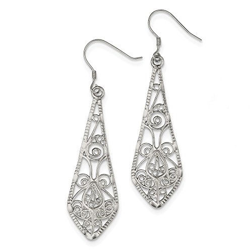 Qe2 Collection - Sterling Silver Filigree Earrings (Approximately 57 x 17mm)
