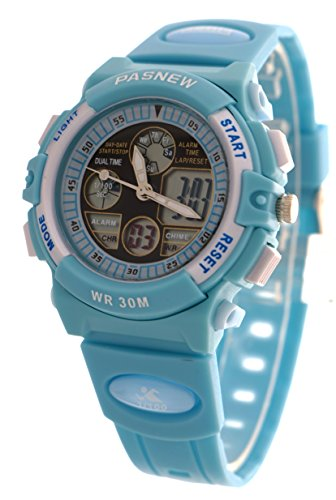 Waterproof Sport Digital Watch Dual Time Display With Alarm Clcok Stopwatch Calendar Watches For Girls Boys (Blue) (Dual Time Stopwatch)