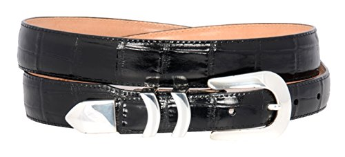 Brighton Mens Catera Croco Taper Belt (Black 44) Croco Embossed Leather Belt