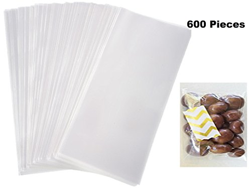 """Price comparison product image LOWEST PRICE EVER!!! Kedudes Small Clear Treat Bags 3"""" Inch by 4.75"""" Inch - 600 Pieces - Great for Big Projects, Gifts, Party Favors, Chocolates, Cookies,"""