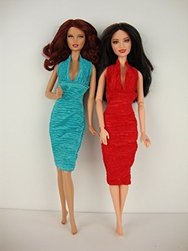 A Set of 2 Stylish Little Party Dresses in Red and Teal Made to Fit the Barbie Doll