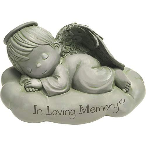 Precious Moments Sleeping Angel in Loving Memorial Resin Garden 183441 Stone One Size Multi (Heart Stone Precious)