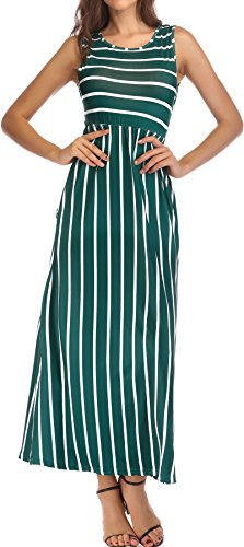 Silk Stretch Dress - KAY SINN Maxi Dresses for Women Summer Casual Sleeveless Striped with Pockets Large Green