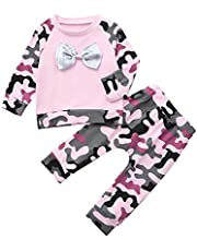 BBSMILN Ropa Bebe Niña Otoño Invierno 0 a 3 6 12 18 24 Meses de Recién Nacido - Camuflaje Camiseta de Manga Larga + Diadema - 3PC/Conjuntos