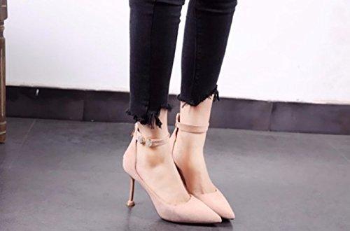 Nozze 9cm calzatura 34 Banchetto tacchi Fine Donna Sandali sola Moda Tacco scarpe Alla di Ajunr albicocca scamosciata Da trentotto Rosa fibbia Una Singola parola Appuntita Pelle F1q060w